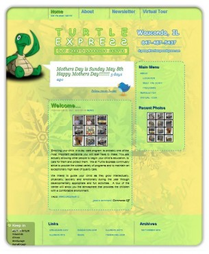 Turtle Express Daycare needed to establish their online presence and since we already were hired to advise them on computer hardware purchases and network setup we were also hired to develop their website. They were ready to move into the 21st century with a professional website that would help them meet a variety of goals.