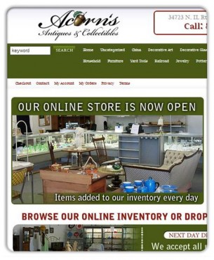 Grays Lake, Illinois' newest antique showroom wanted a complete e-commerce solution that would help them track  inventory and sell their wares online. We chose a platform that fit the budget and designed a custom interface for their site and incorporating the logo we designed for them. We wish them the best of luck with their new online store.
