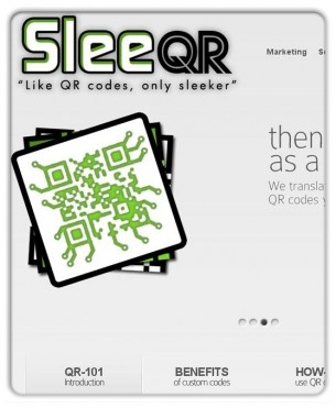 SleeQR is a concept I came up with to market customized QR codes to businesses to help them stand out from the deluge of QR code around here. This is the design we finally decided on for SleeQr.com. After we launched, we had a successful AdWords campaign that brought in a ton of inquiries that led to a bunch of new clients. Designs from those clients will be showing up here in the coming months.